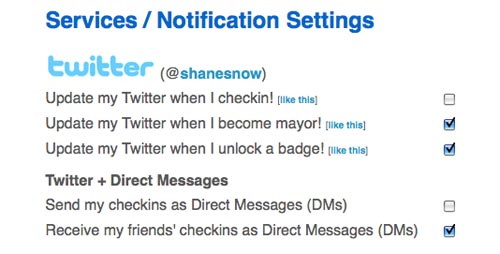Foursquare settings image