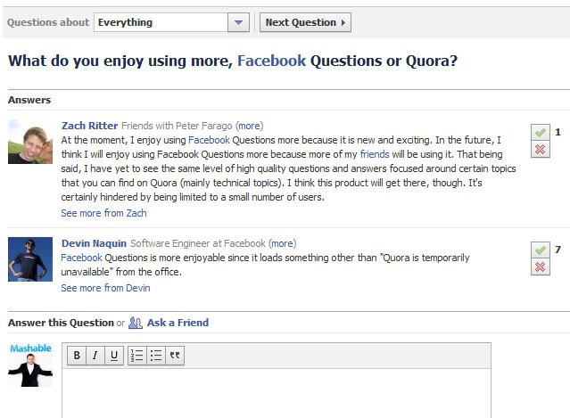 Facebook Questions Status