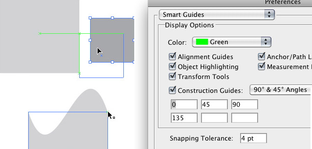 12 Beginner Tutorials for Getting Started with Adobe Illustrator 11_smart_guides