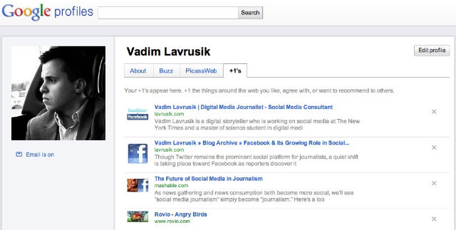 +1 google profile