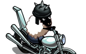 騎摩托車的羊