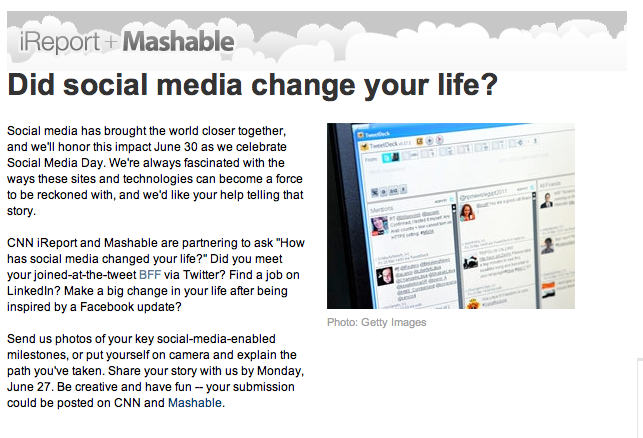 CNN iReport Social Media Life Change Contest Info
