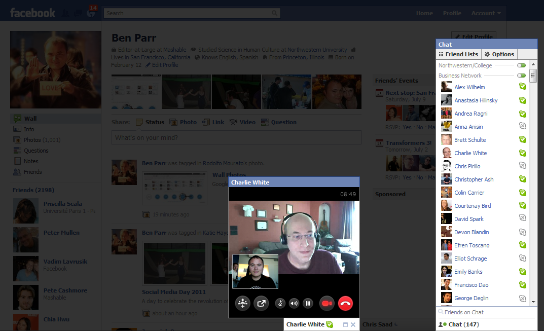 3g chatting Facebook video using Skype
