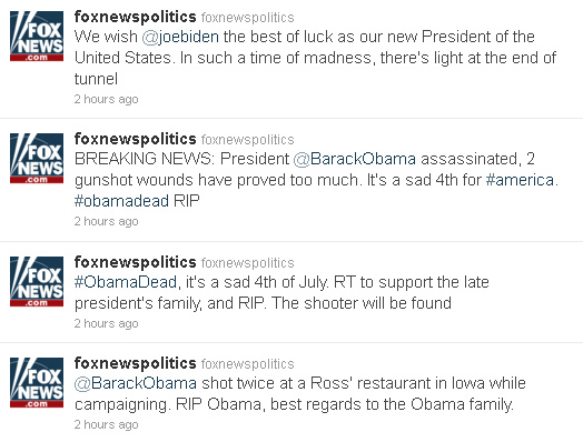 Hackers Break Into Fox News Account, Tweet Fake Obama Assassination News foxnews fake