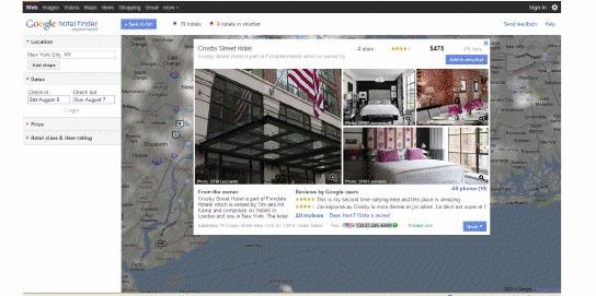 上月推出的Google Hotel Finder