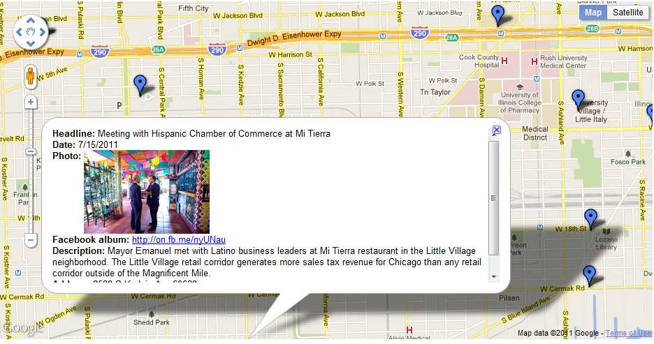 Chicago Google Map