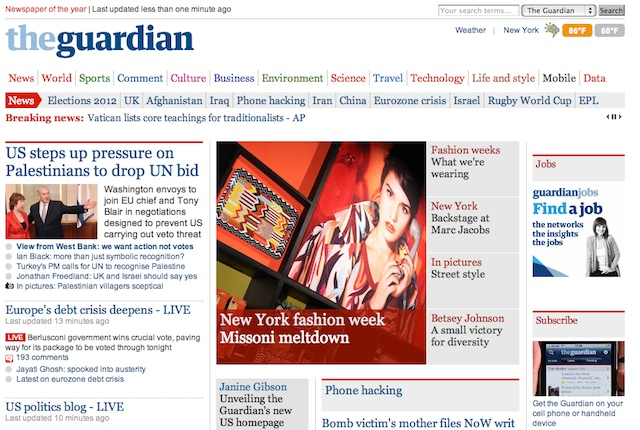 The Guardian U.S. Homepage
