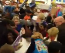 Conspiracy theory? Yes, this is a still photo from the $2 Waffle Maker brawl at Wal-Mart
