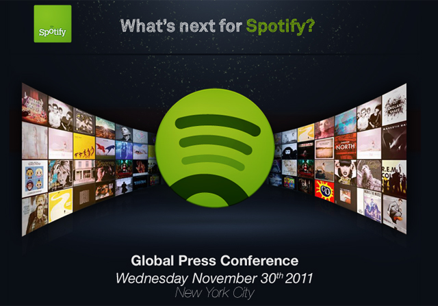 Spotify announce worldwide press conference on November 30th