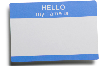 """Hello my name is..."" blue and white name tag sticker"
