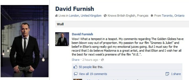 David Furnish Elton John Facebook