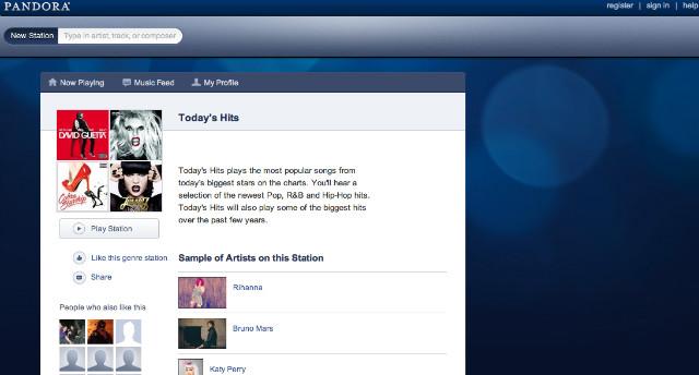Pandora Main Screen
