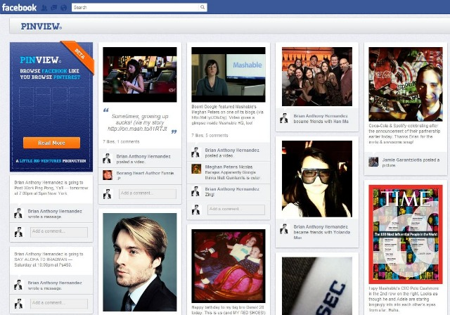 PinView Transforms Your Facebook Timeline Into a Pinterest Grid