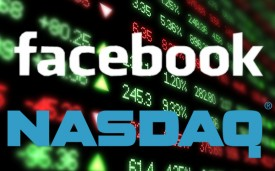 Facebook and Nasdaq logos on a stock field. Facebook IPO related.