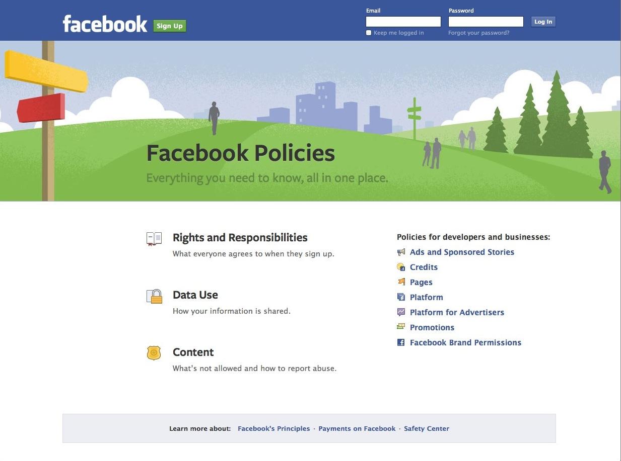 جديد:- شروط سياسات الفيسبوك مكان