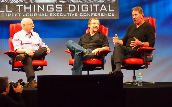 Walt Mossberg, Ed Catmull and Larry Ellison