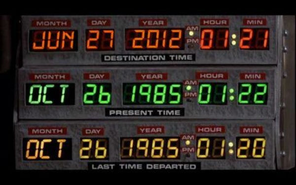 The (doctored) display from Doc's DeLorean