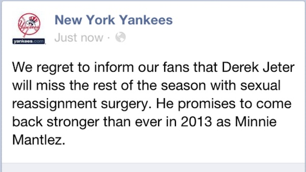 That was the news subscribers to the Yankees' Facebook Page received ...