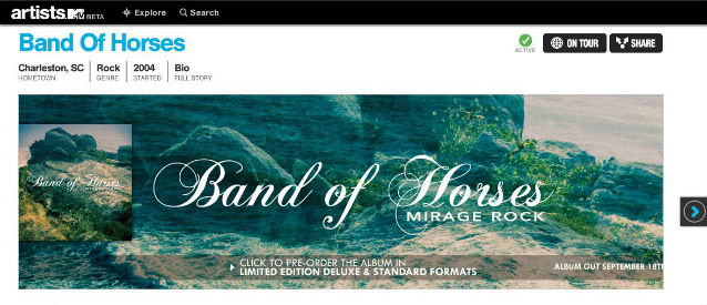 Band of Horses MTV Homepage
