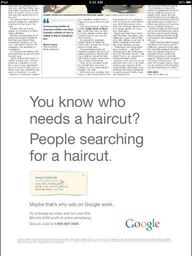 Google menjalankan iklan di iklan surat kabar dari Google, dunia belum meledak