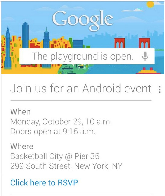 Google invites press to android event in new york oct 29 qarve the event will take place at 10 am et at basketball city at pier 36 in manhattan if you didnt receive an invitation google will help you stay up to stopboris Image collections