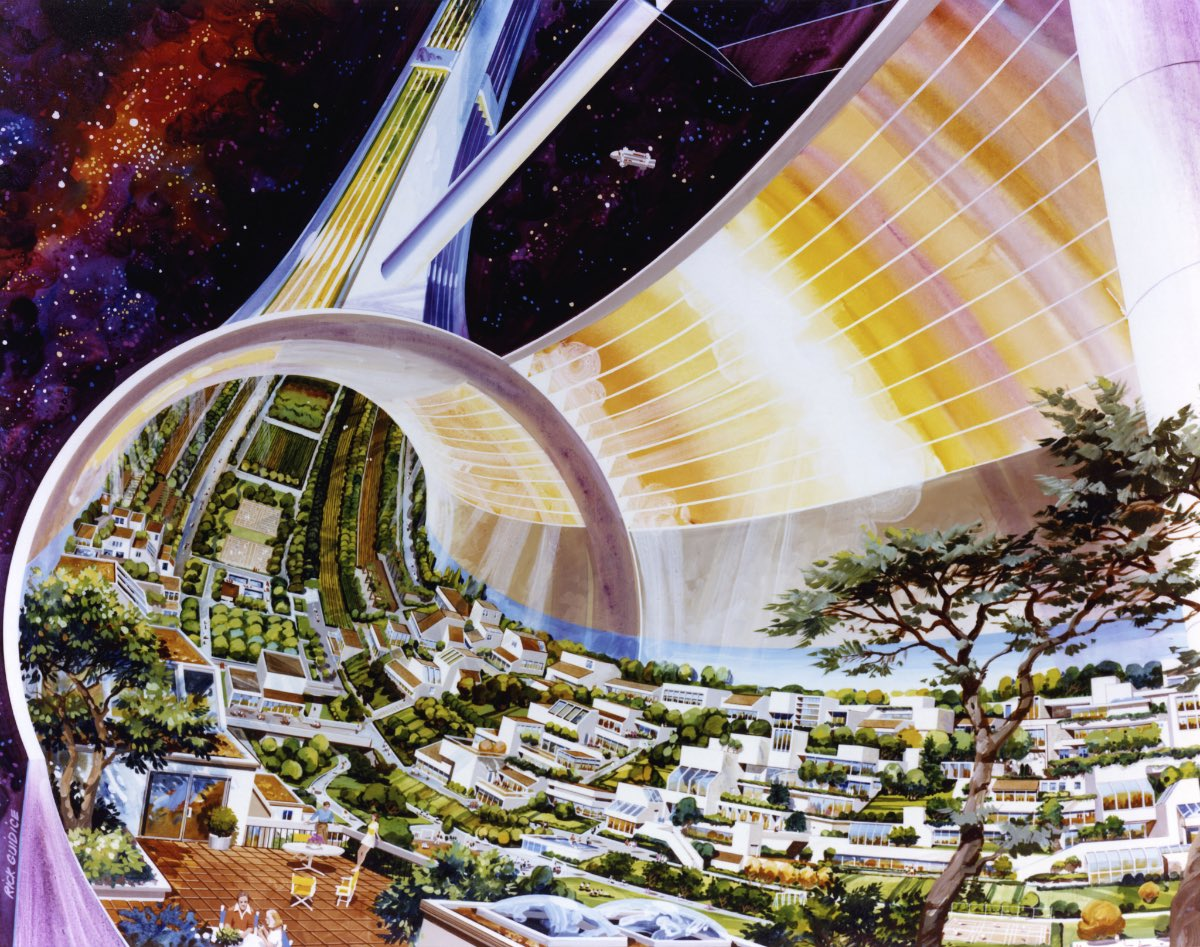 Concept art for NASA space stations