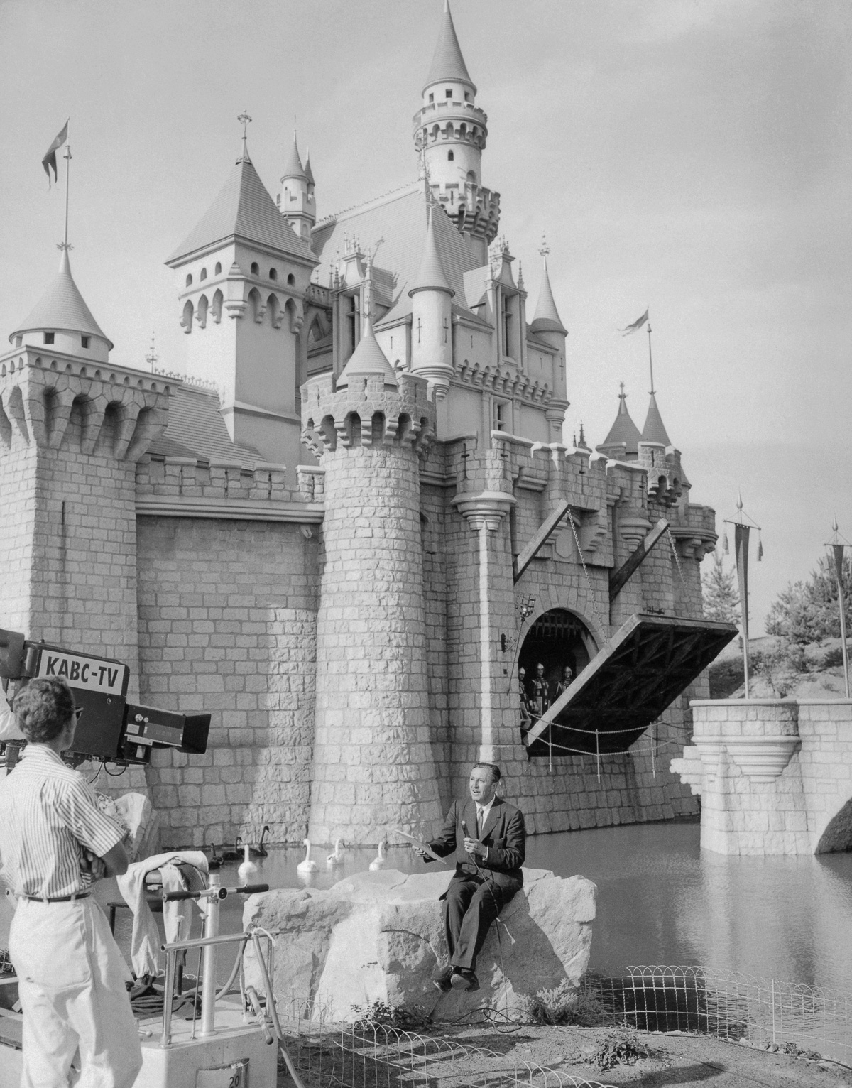 Walt Disney speaks during a national telecast of the opening of Disneyland. IMAGE: BETTMANN/CORBIS