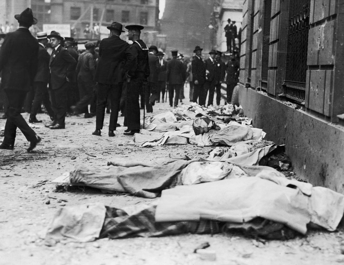 three reports on the explosion of wall street in 1920 Anger and anarchy on wall street 1920, an explosion at the corner of wall and broad streets in downtown manhattan but generally report a total of 10—and.